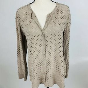 Ecru Laser Cut Silk Tan V-Neck Soft Blouse